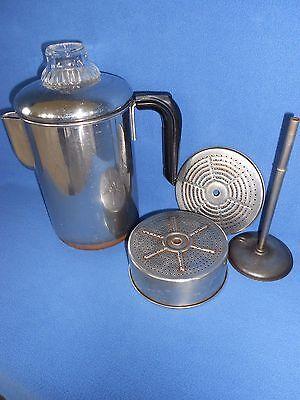 *Complete* Vintage Revere Ware ~ 8 Cup Stove Top Coffee Pot Percolator