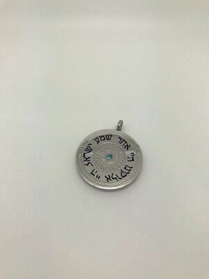 Stainless Steel Circle Pendant with Shema Prayer and Blue Zirconia Crystal Blue Circle Pendant