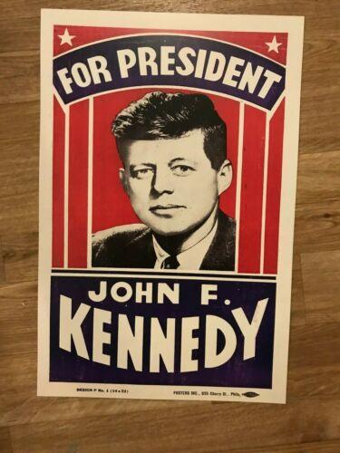 John F. Kennedy JFK for President Campaign Poster Sign