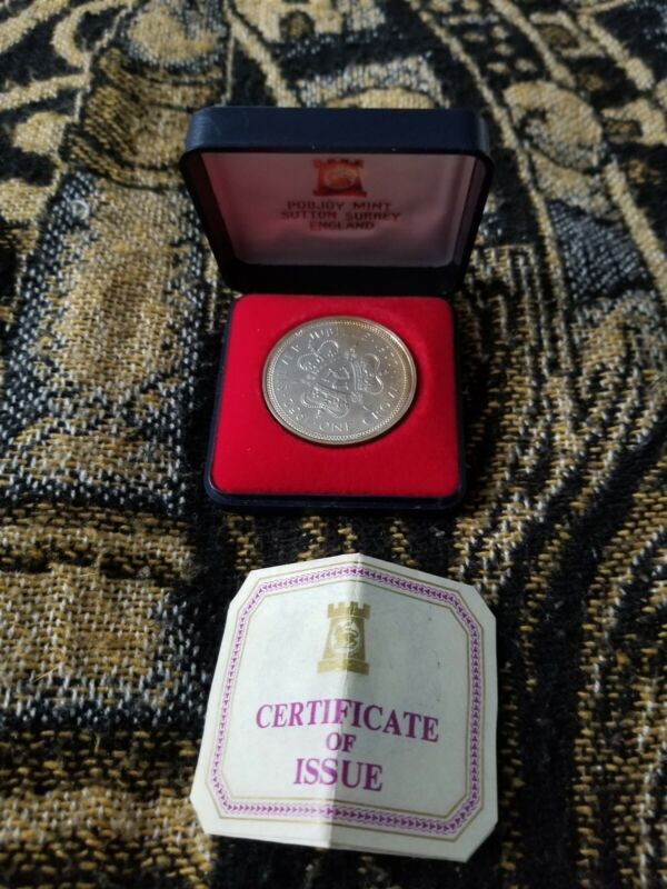 Isle of Man 1 Crown 1977 - Silver Jubilee - Silver Crown in Case with COA