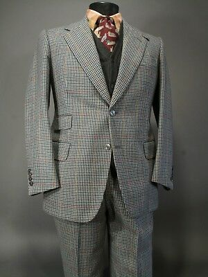 Vtg Zanghi Bernard Weatherill Bespoke Hunting Suit 40S Wool Gray Hounds Tooth