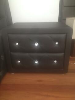 Black bed set with 2 side tables