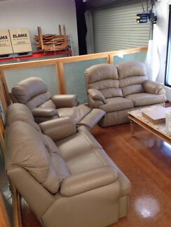 Lounge suite 3 piece tan leather Varsity Lakes Gold Coast South Preview