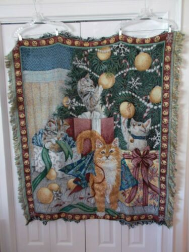 Woven Kitty Cat Christmas Tree Presents Throw Blanket Fringed Cotton NICE