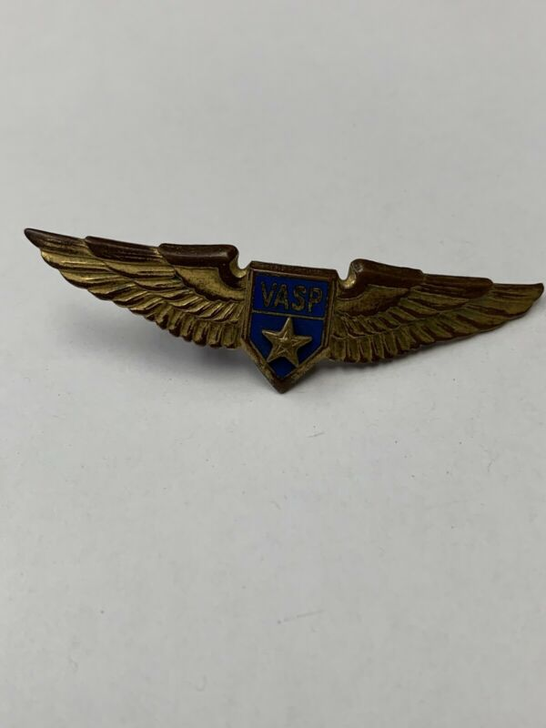 Vintage Goldtone VASP Wings Pin Military? Brazilian Air?