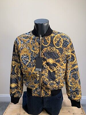 BRAND NEW MENS BLACK REVERSIBLE VERSACE BOMBER JACKET SIZE L