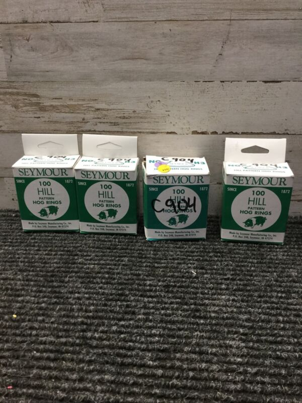 LOT OF 4 Hill Pattern Hog Rings, No H3,  Seymour Mfg Co, 100 Pcs per box NEW
