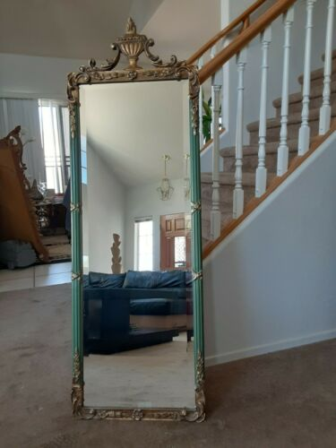 French Louis XVI  Style  Gold  Giltwood And Green Mirror