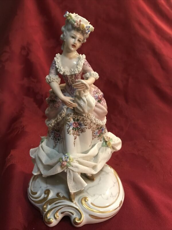 San Marco Capodimonte Figurine Porcelain Lace Italy Victorian Lady