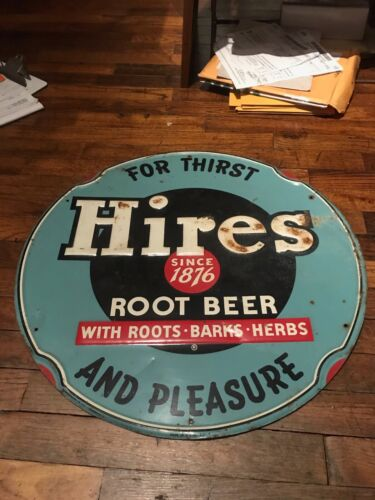 Old Large Vintage Original Hires Root Beer Embossed Tin Metal Sign round