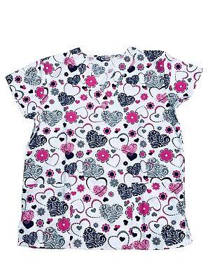 - Womens Fashion Medical Nursing Scrub Print Tops Embroidery Heart 2XL
