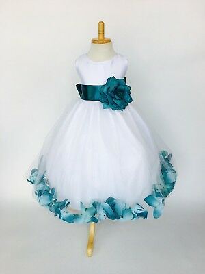 Flower Girl Dresses Teal (Flower Girl White Tulle Dress ALL SIZES Teal Rose Petal Easter Fall Pageant)