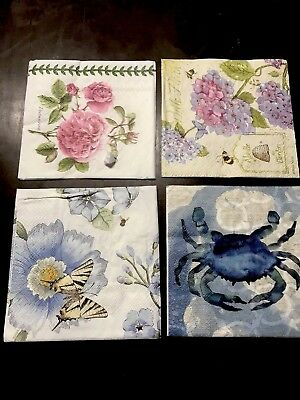 Four Decoupage Beverage Napkins 3 Ply Botanical Gardens Butterflies Lot