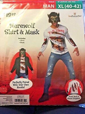 Wal-Mart Werewolf Shirt & Mask  Costume Man Size XL - Costume Walmart