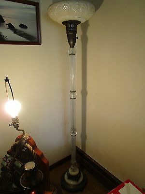 Antique Torchiere Glass Floor Lamp Glass Column Opalescent Shade Marble - Column Torchiere Floor Lamp