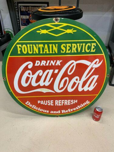 """COCA COLA FOUNTAIN SERVICE"" LARGE HEAVY PORCELAIN ADVERTISING SIGN (30"" INCH)"
