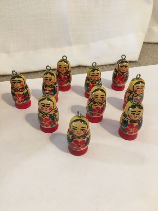 Lot of 10 Vintage Russian Doll Ornaments-Hand Painted-USSR Era