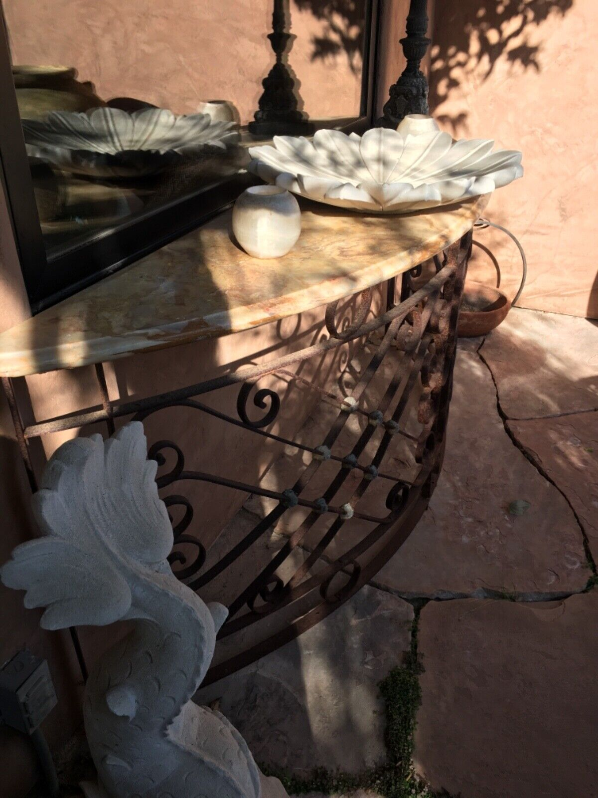 Antique Large Wrought Iron Onyx Top Console Table - $4,795.00