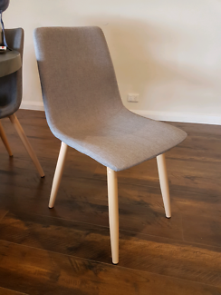 Grey fabric upholstered dining chairs x 6