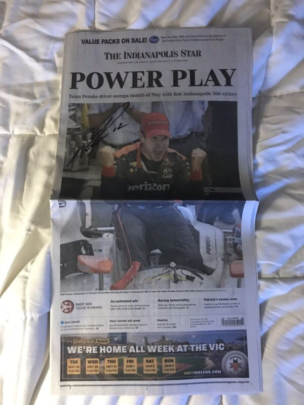 Indy 500 Winner Will Power Signed Newspapers Indianapolis Star 2018 2 Different