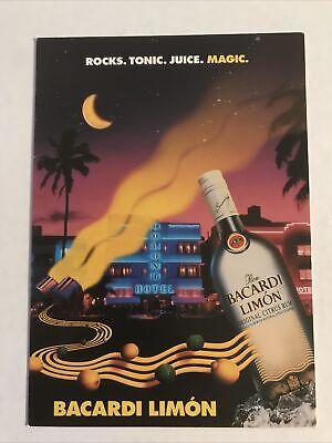 Bacardi Limon Postcard Spirits Bar Or Den Art Vintage Extremely Rare Miami Fl