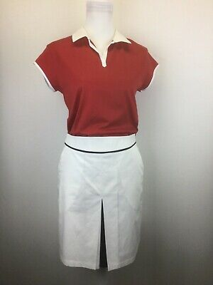 Burberry Golf Polo Shirt Top & Golf Skirt Womens 2 PIECE Small Sz 6 Red/White (Womens Red Burberry Polo)