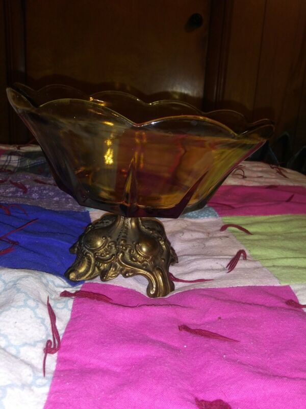 Vintage Amber Metal-footed Glass Candy Bowl