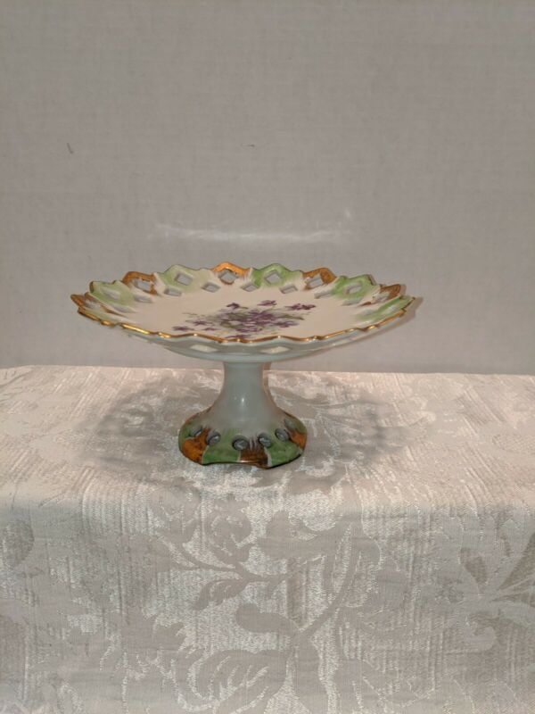 Vintage Lefton China Hand Painted Pedestal Compote, Violets With Gold Gilt