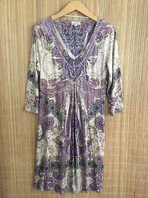 Embellished Medium Sleeve (ONEWORLD TAUPE Medium Sublimation V-Neck Embellished 3/4 Sleeve Dress B15 SA )