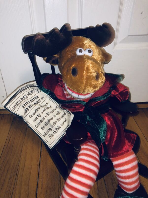 Dan Dee Christmas Grandma Got Run Over by a Reindeer Moose Plush Rocking Chair