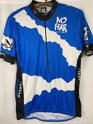 No Fear Gear Cycling Shirt Jersey Sz XL Blue Black Mens Pockets Short Sleeves