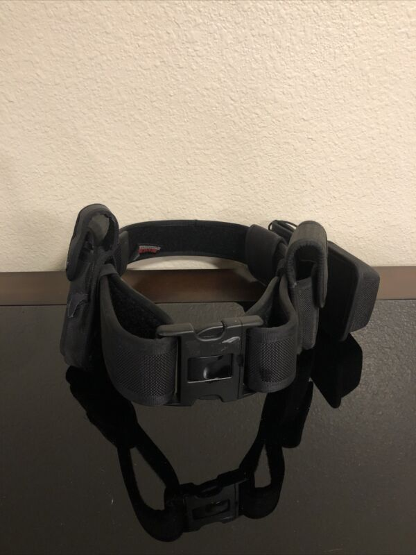 "Bianchi ""Medium"" Black Duty Belt with Double Ammo Clip Holders & 4 Belt Keepers"