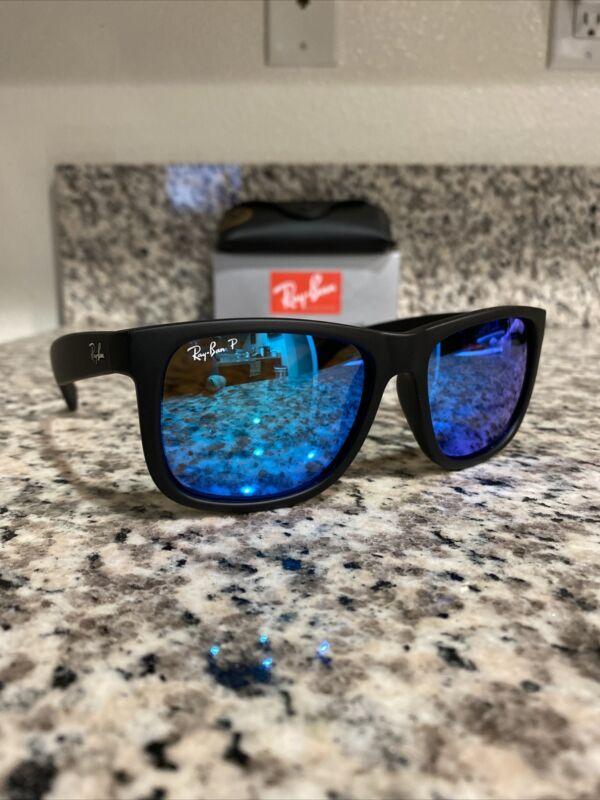 Ray-Ban Justin 4165 622/55 Polarized Sunglasses Black Frame/Blue Mirror 54mm