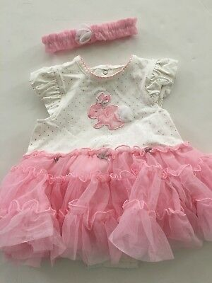 Little Me Girls Easter Bunny Tutu Bodysuit Dress Size 3 6 9 12 18 Months Pink Wh