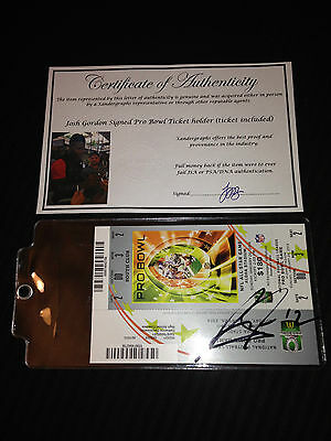 JOSH GORDON BROWNS SIGNED AUTOGRAPHED 2014 PRO BOWL HOLDER/TICKET-PROOF COA $180