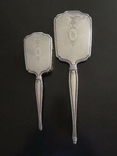 Victorian Sterling Silver International Silver Mirror and Brush Dresser Set