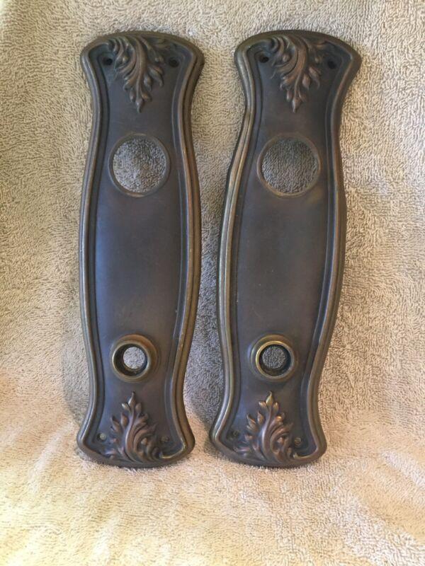 Pr Antique Stamped Brass Victorian Doorknob Back Plates Escutcheons - No Keyhole