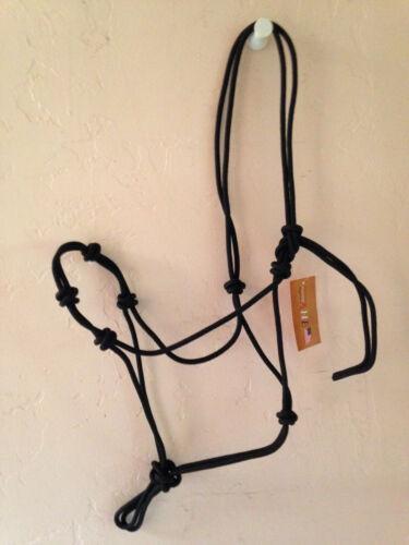 Black 4 Knot Natural Horsemanship Hand Tied Rope Halter Bitless Bridle