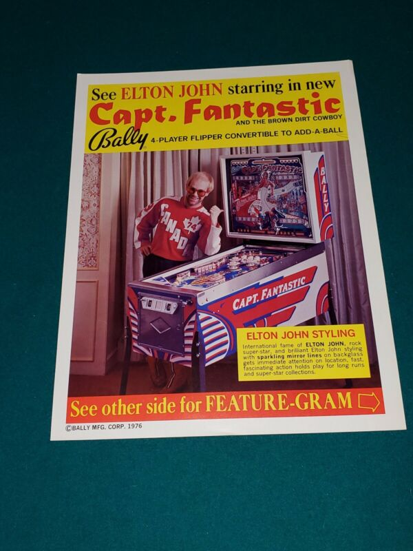 Capt. Fantastic Bally Pinball Flyer Ad ELTON JOHN FREE SHIPPING! ORIGINAL