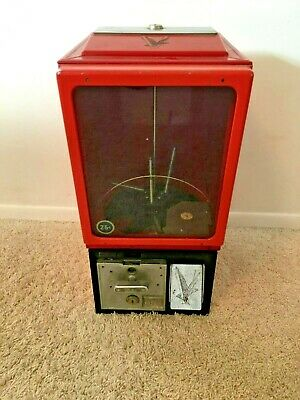 LARGE Vintage RED  Victor Coin Op Vending Machine Gumball 25 Cents Works