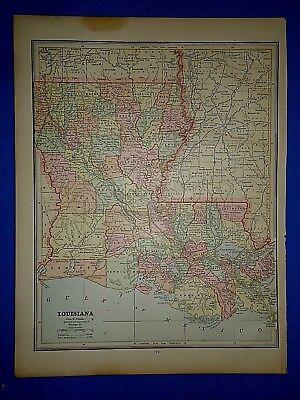 Vintage 1889 LOUISIANA MAP ~ Old Antique Original Atlas Map 111318