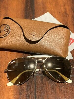 Authentic Ray Ban Sunglasses White Aviator With Brow Bar -Worn By Kim (Ray Ban Aviator White)