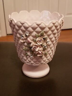 """Used, LEFTON CHINA 6"""" FOOTED VASE Classic Pink Bisque 3D Rose applique ANTIQUE 1035 for sale  Homewood"""