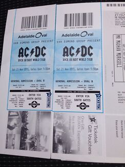 AC DC Tickets Adelaide 21st November.   St Marys Mitcham Area Preview