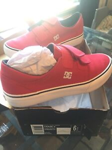New sz 6 youth red dc shoes