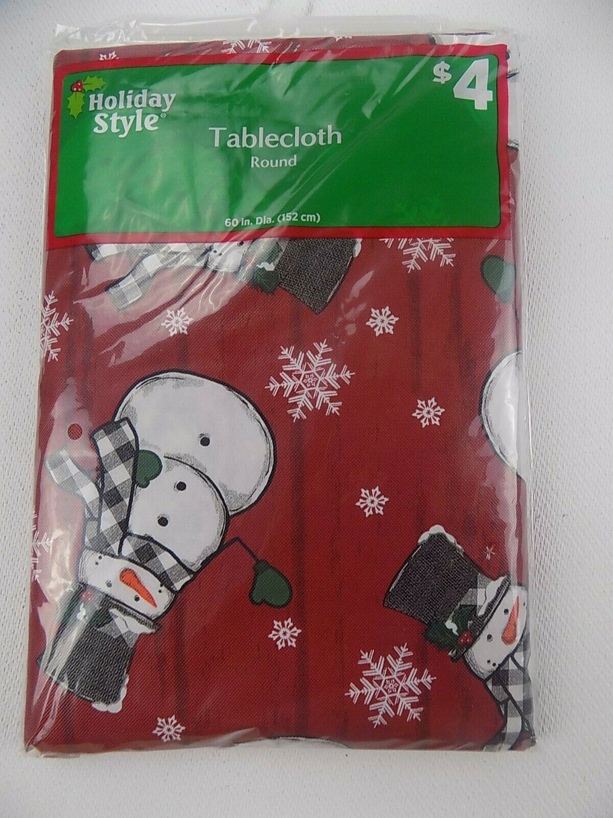 Red Snowman Christmas flannel backed tablecloth 52x70 rectan