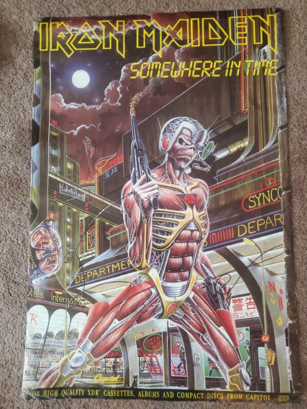 IRON MAIDEN - SOMEWHERE IN TIME / 1986 CAPITOL RECORDS PROMO POSTER 3x2 feet