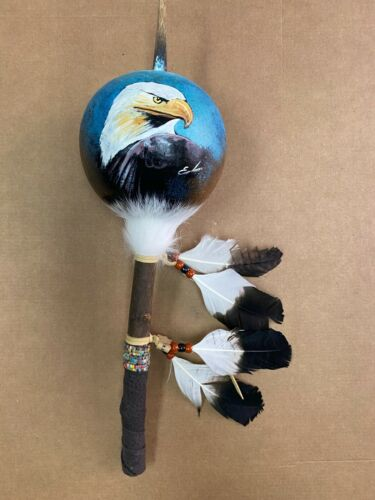 HAND PAINTED DANCE GOURD RATTLE ,CEREMONIAL ,SANTA FE STYLE ,NATURAL , EAGLE 3
