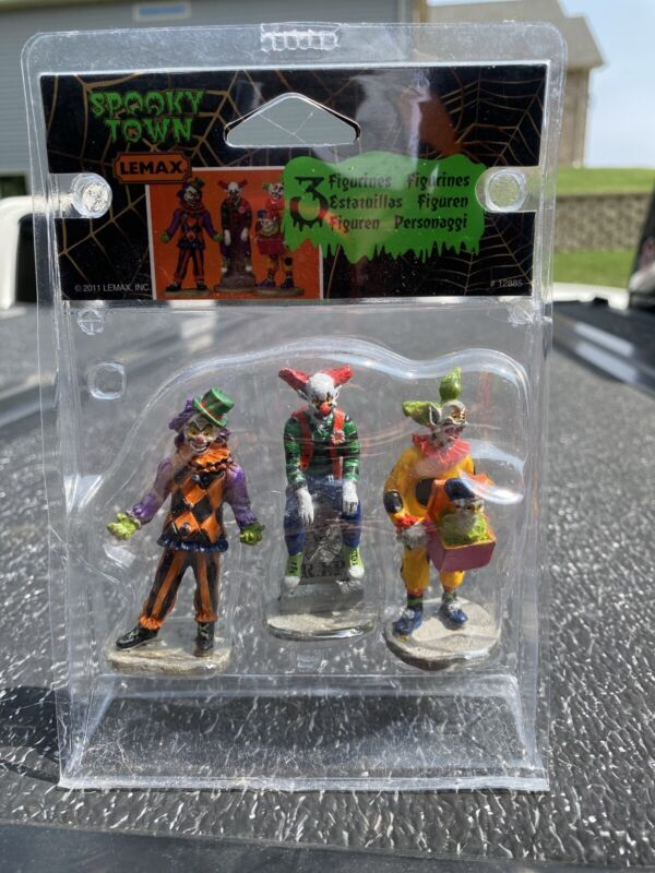 Lemax Spooky Town Figurines - Evil Sinister Clowns, Set Of 3