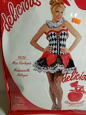 Harley Quin Costume (Delicious Miss Harleyquin Mademoiselle Costume Halloween Adult Women XS / S)